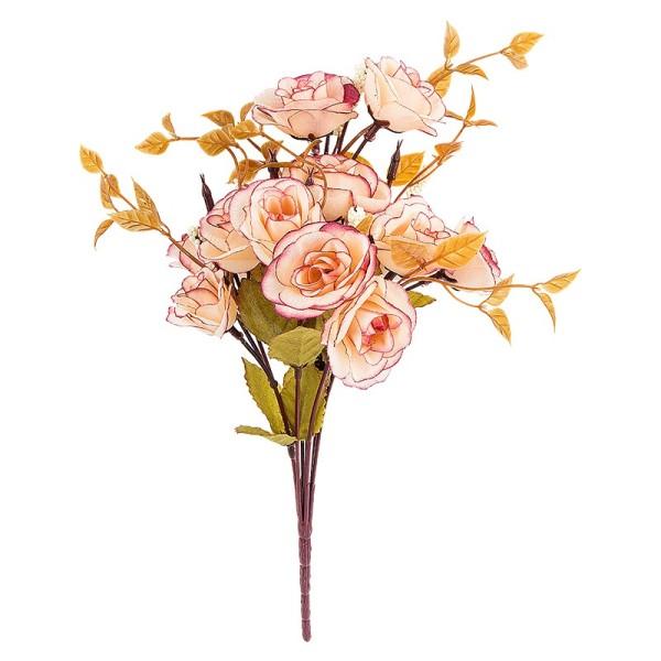 Blütenbusch, Rosen 1, 29cm hoch, 14 große Blüten Ø 4cm, rosé