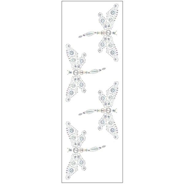 Kristallkunst, Libellen-Ornament, 10cm x 30cm, selbstklebend, klar irisierend