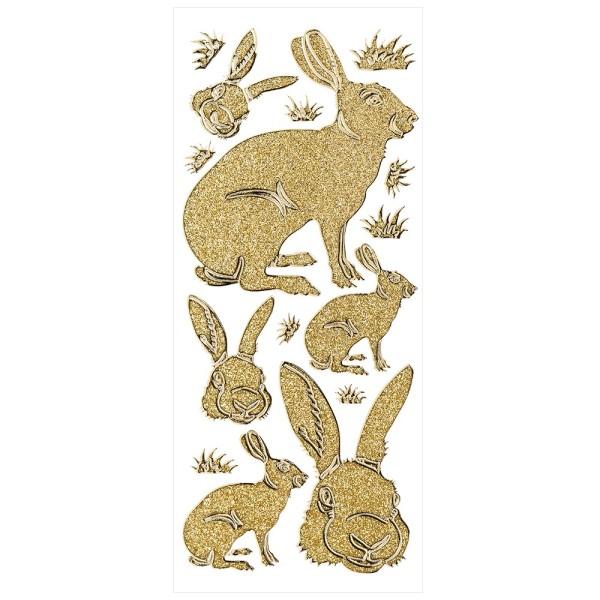 Microglitter-Sticker, Osterhase, gold