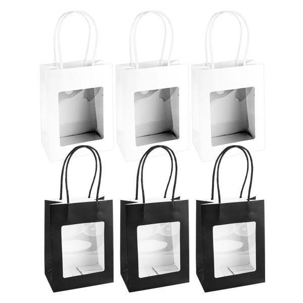 Geschenktaschen mit Folien-Sichtfenster & Henkel, 7,5cm x 12,5cm, 16,5cm, weiß, schwarz, 6 Stück