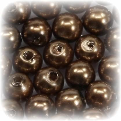 Perlen, rund, Ø6 mm, nussbraun, 50 Stück