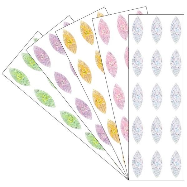 Kristallkunst, Schmuckstein Navette 1, 10cm x 30cm, selbstklebend, verschiedene Farben, 5 Stück