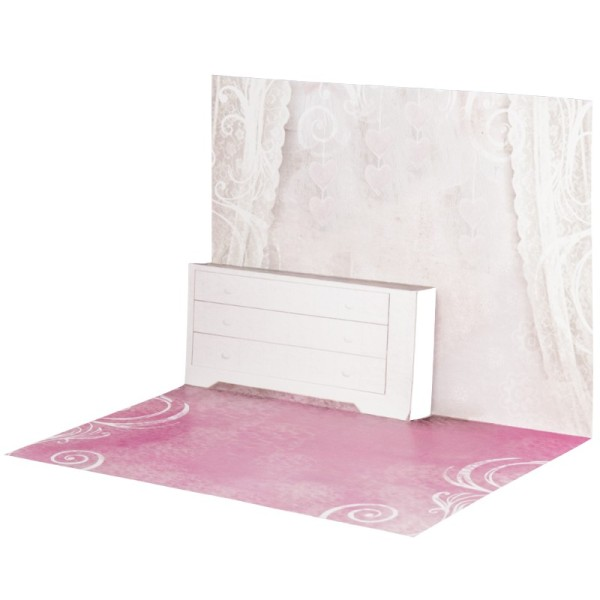 Pop-Up-Grußkarten-Einleger, gefaltet 11 x 15,5 cm, Zimmer, rosa