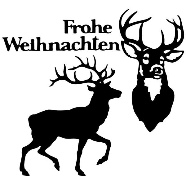 Stanzschablonen, Hirsche & Frohe Weihnachten, 4 Stück