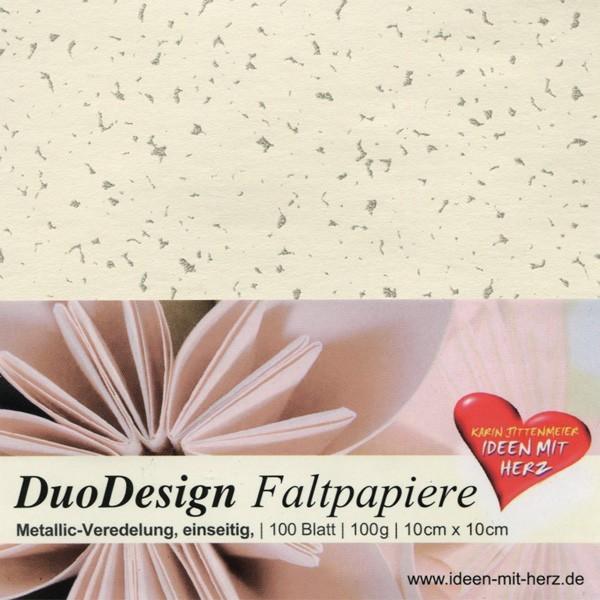 DuoDesign Faltpapier, folienveredelt/silber, 10x10cm, 100Bl