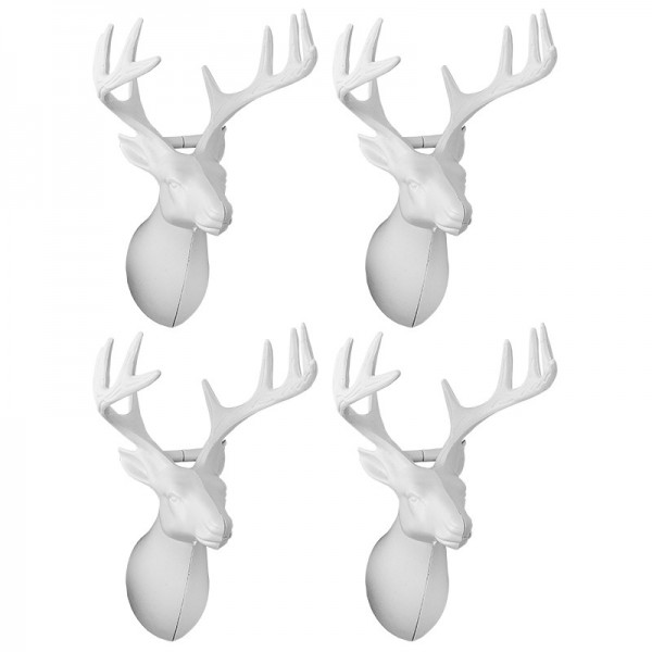 Winter-Deko, Rohling, Hirschkopf 1, 6,5cm x 7,5cm x 10,5cm, weiß, 4 Stück
