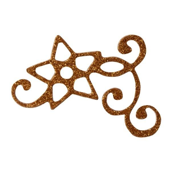 Glitzer-Ornamente, 25er Set, 4,5x5,5cm, Stern 3, kupfer-gold