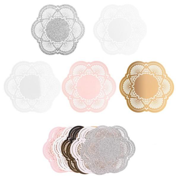 XL-Laser-Ornamente, Zierdeckchen 7, verschiedene Farben, Ø 20cm, 10 Stück