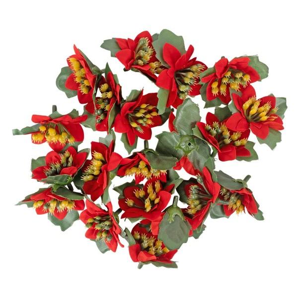 Deko-Blüten Weihnachtsstern 2, Ø 4cm, rot mit grünen Blättern, 20 Stück