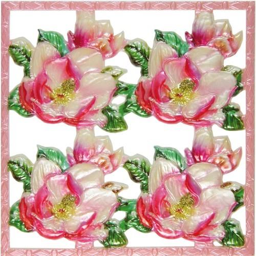 Wachsornament-Platte Christrose, rose, geprägt, 10x10cm