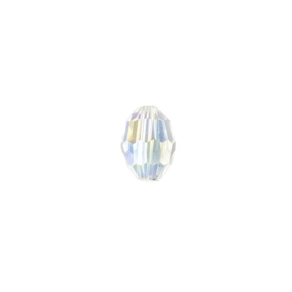 Perlen, Ovale, facettiert, 0,6cm x 0,8cm, transparent-irisierend, 30 Stück