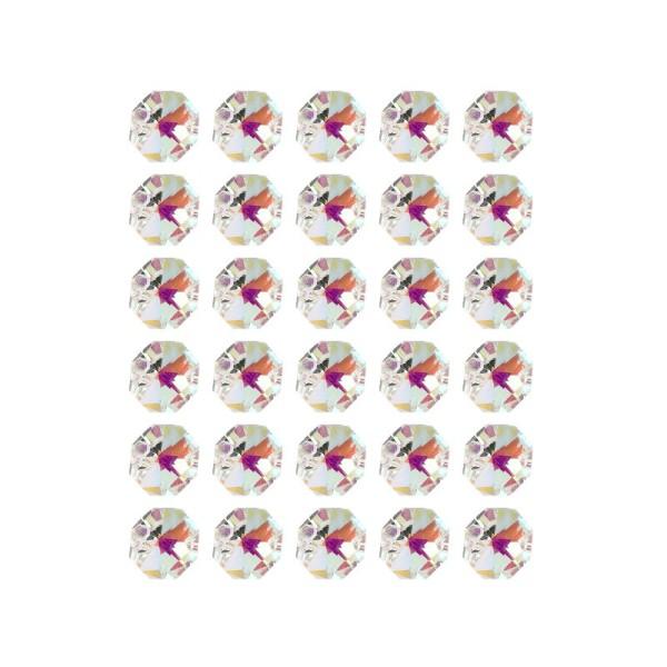 Glaskunst, Koppen, Octagon, Ø1,4cm, facettiert, irisierend, mit zwei Öffnungen, 30 Stück