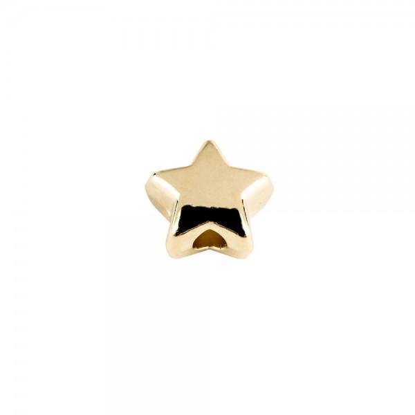 Perlen, Stern 1, flach, 0,7cm x 0,4cm, hellgold, 510 Stück