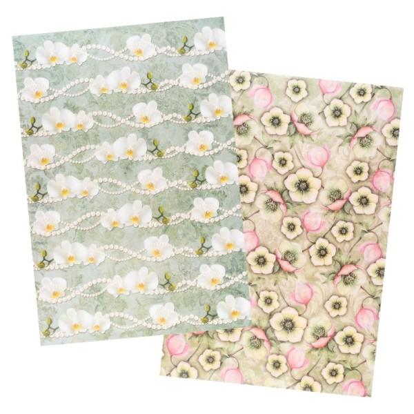 Reispapiere, Blüten 16, DIN A4, 30g/m², 2 verschiedene Designs
