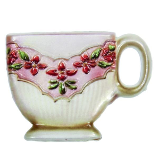 Wachsornament Tasse mit Blumenzierde, 4,5 x 6 cm, Design 1