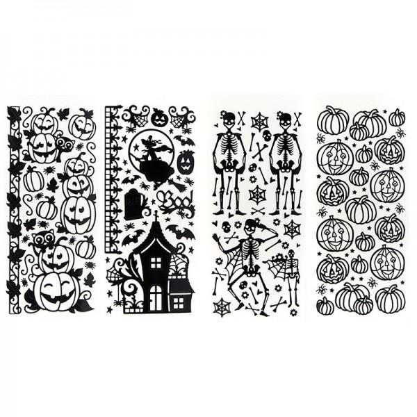 Stickerbogen, Halloween, Lackfolie, schwarz, 4 Stück