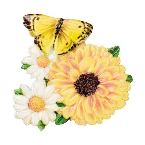 Wachsornament Blumen & Schmetterlinge 8, farbig, geprägt, 7cm
