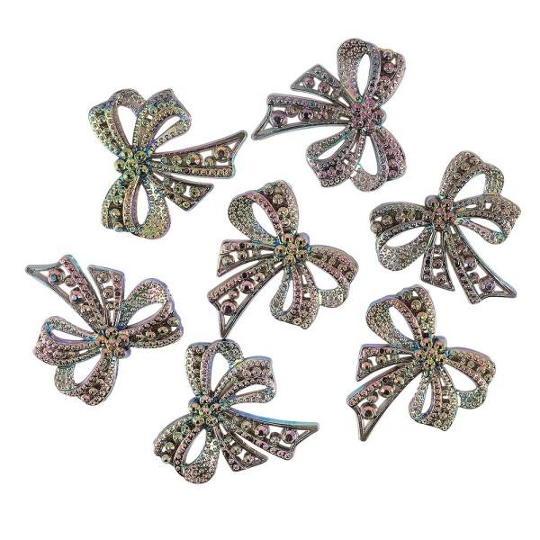 Kristallkunst-Schmucksteine, Schleife, 4,5cm x 4,5cm, transparent, irisierend, grüngold, 7 Stück