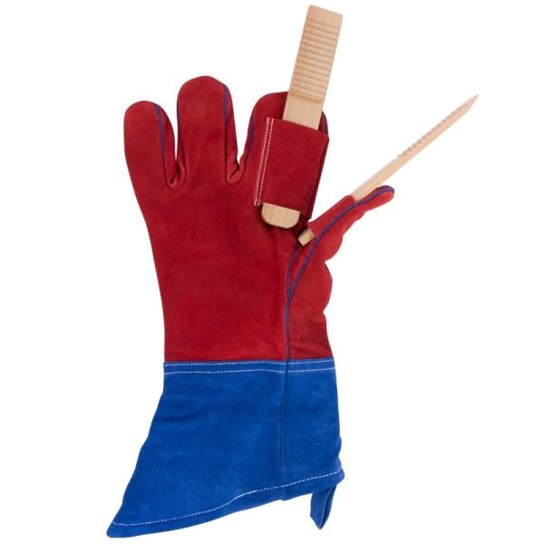"""Handschuh & Holzzange """"Grillfinger"""", 2 in 1, Einheitsgröße"""