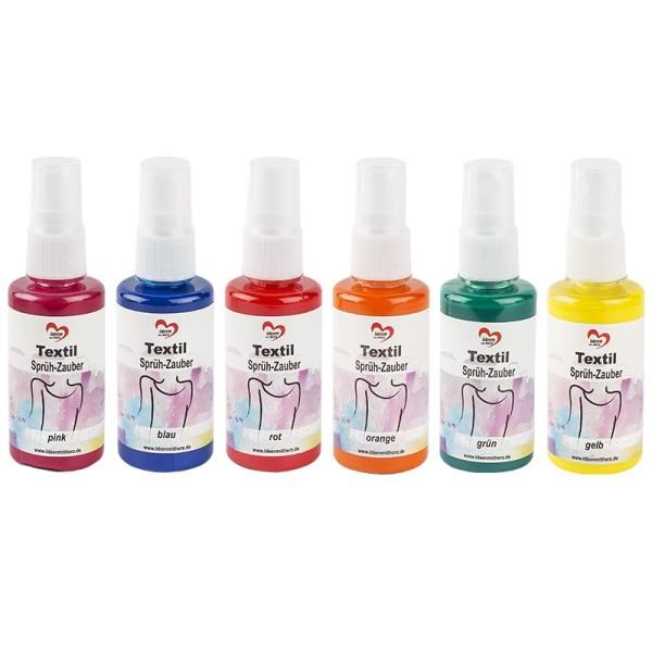 Textil-Sprüh-Zauber/Textil-Sprühfarbe, 6 x 50 ml, 6 Farben