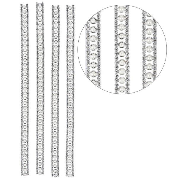 Premium-Schmuck-Bordüren, Bracelet 12, selbstklebend, 29cm, Glaskristallen, Halbperlen, silber