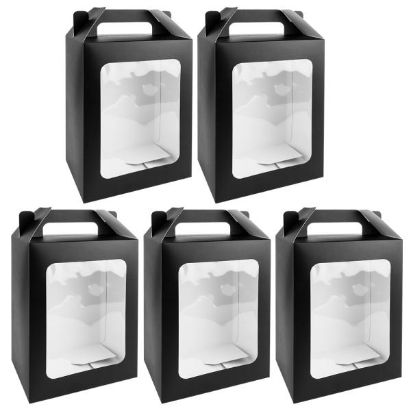 Geschenkboxen mit Sichtfenster, Design 1, 18cm x 13cm x 30cm, 350 g/m², schwarz, 5 Stück