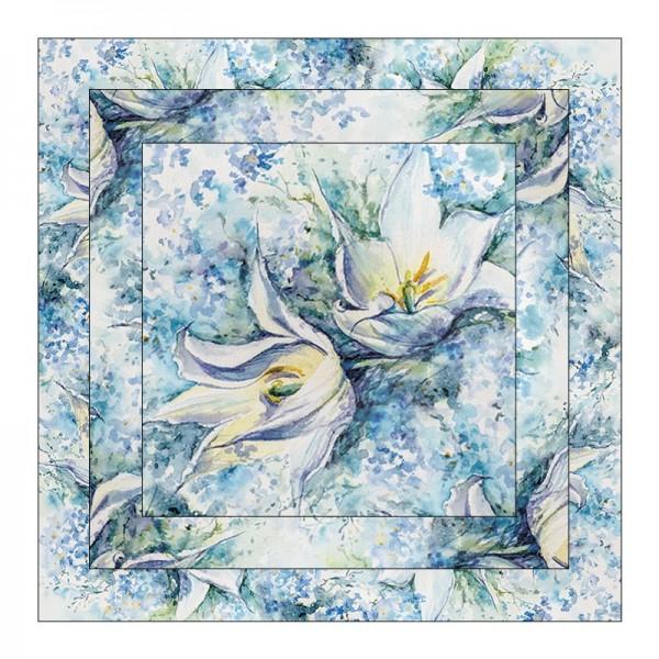 Faltpapiere, Duo-Design 5, 110 g/m², Blüten/blau, 150 Stück