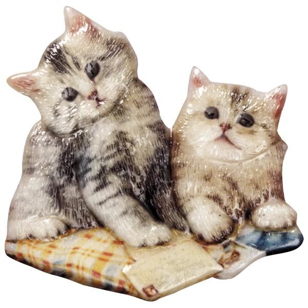Wachsornament Katzen 9, farbig, geprägt, 7-8cm