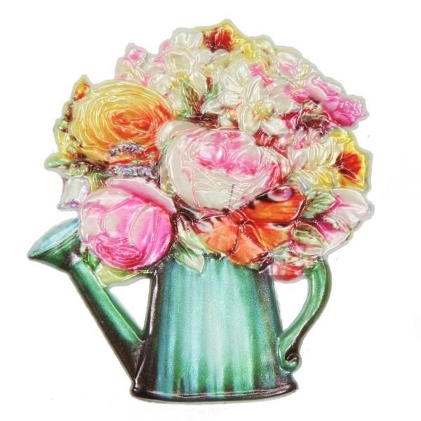 Wachsornament Blumenbouquet 4, farbig, geprägt, 7,5 x 7 cm