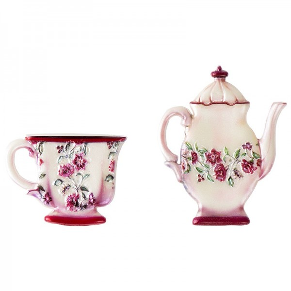 Wachsornamente, Tasse & Kanne 4, Kaffee/Tee, 2 Stück