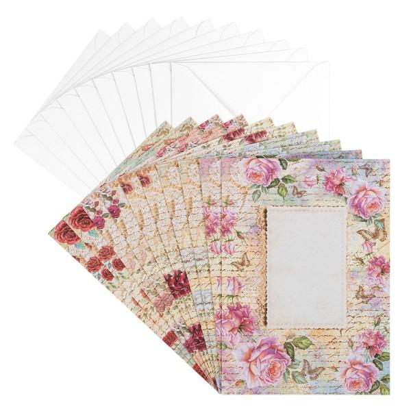 Motiv-Grußkarten, Rosen 1, B6, 230 g/m³, 5 Designs, inkl. weißen Umschlägen, 10 Stück
