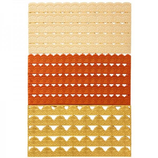 Wachs-Bordüren auf Platte, Ornamentik, 15 Stück
