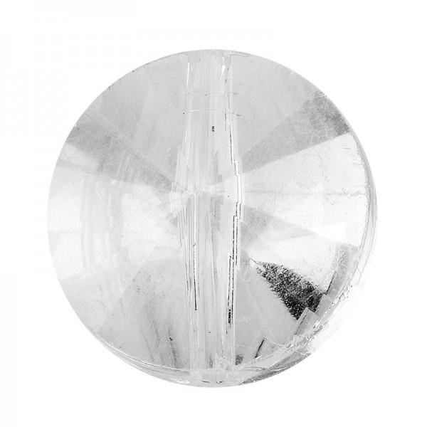 Perlen, rund, flach, Ø 1cm, facettiert, transparent, klar, irisierend, 40 Stück
