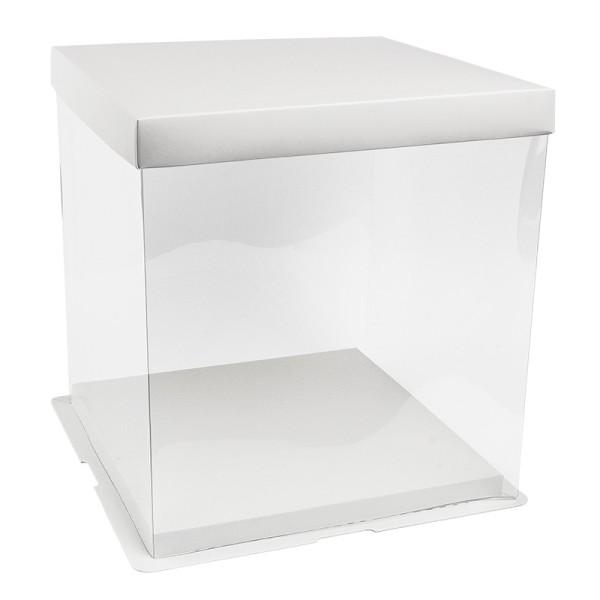 Geschenk-Box, transparent, Boden & Deckel aus weißem Karton, 24cm x 24cm x 24cm