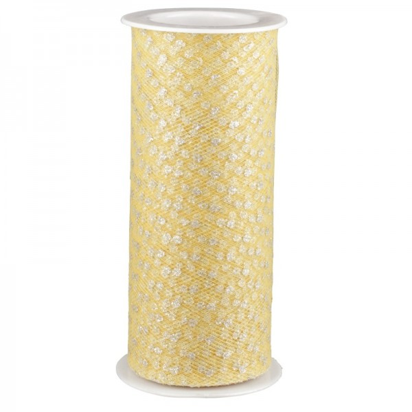 Deko-Tüll-Band mit Silberpunkten, 12 cm x 5 m, gelb