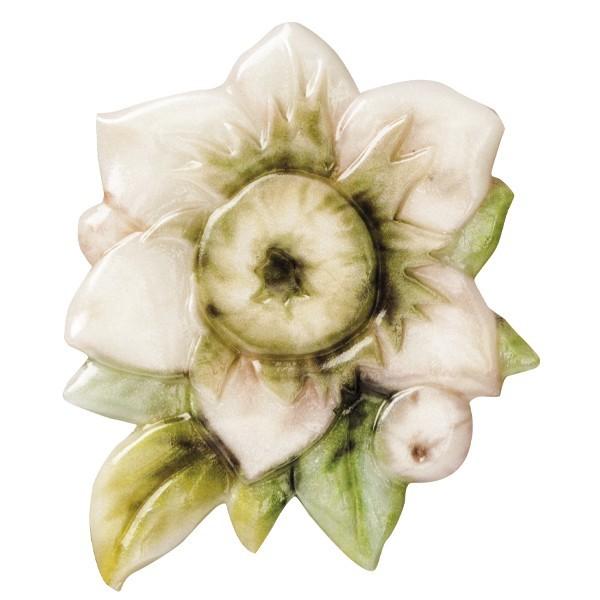 "Wachsornament ""Blüten de luxe"" 8, farbig, geprägt, 6-7cm"
