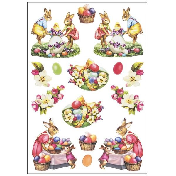 3-D Relief-Sticker, Osterhasen 1, verschiedene Größen, selbstklebend