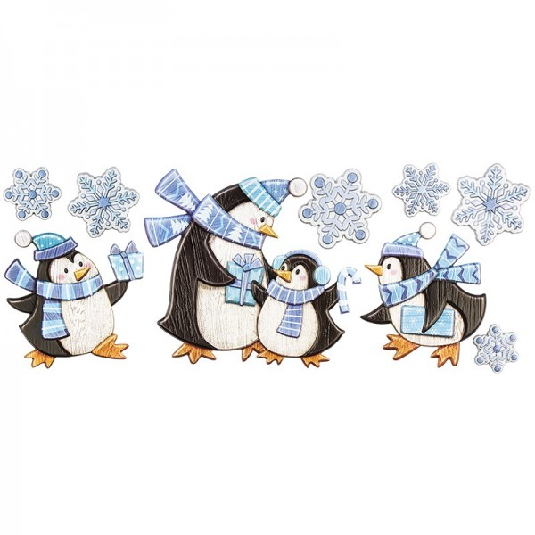 Relief-Sticker, Pinguine, Holz-Optik, XXL 50x20 cm