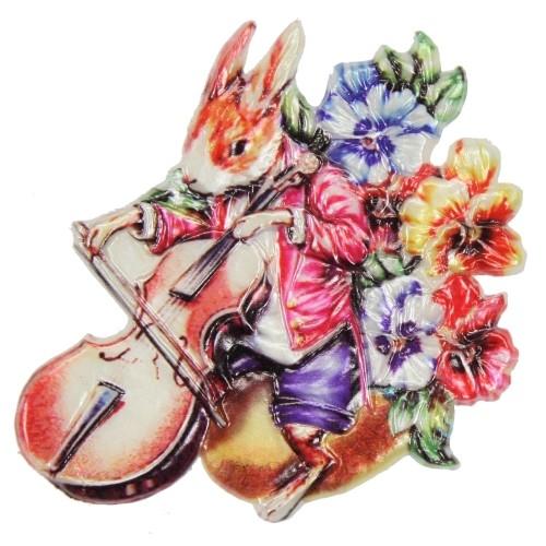 Wachsornament Hase mit Violine, 7,5 x 7,5 cm