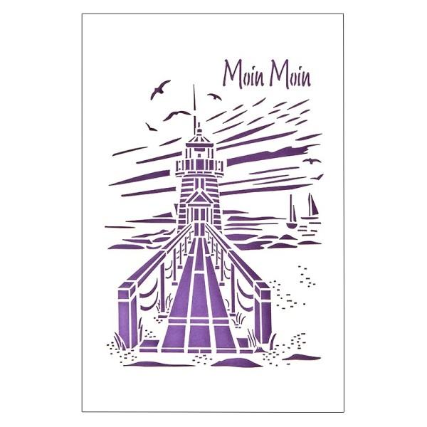 """Laser-Grußkarte """"Moin Moin"""", 12x18cm, mit Umschlag & violetter Einleger"""