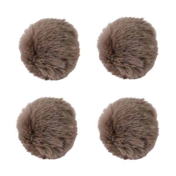 Fell-Pompons, Ø 8cm, taupe, 4 Stück