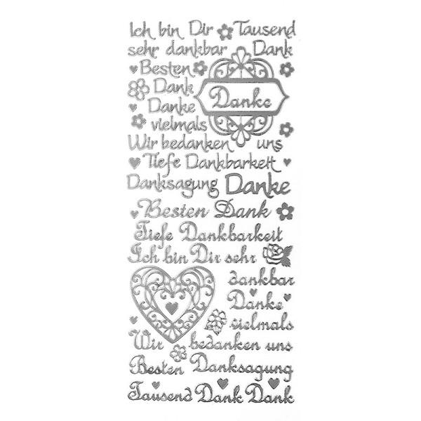 "Sticker, Schriften, ""Danke"", uvm., Spiegelfolie, silber"