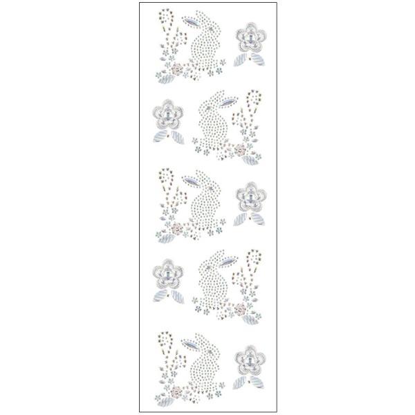 Kristallkunst, Osterhasen-Ornament, 10cm x 30cm, selbstklebend, klar irisierend