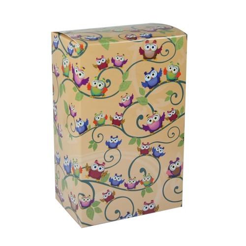 Geschenkbox Kaffee, Eulen-Design, orange
