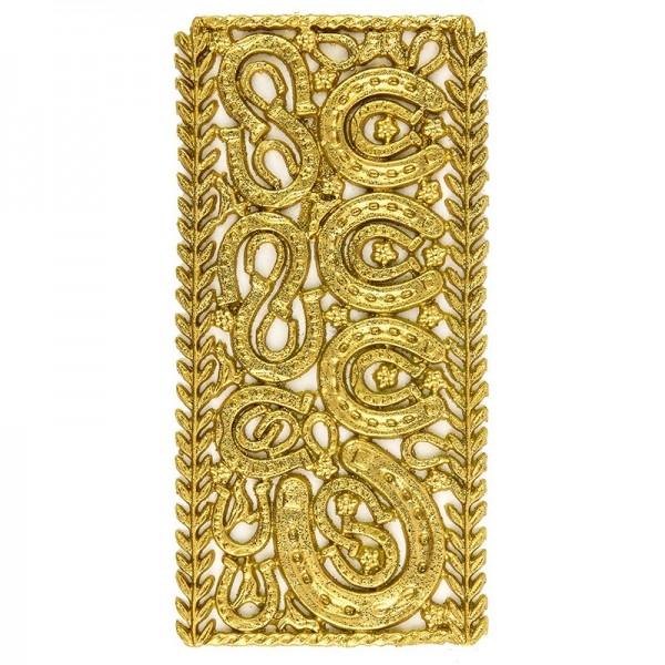 Wachsornament-Platte Hufeisen, 16 x 8 cm, gold mit Glimmer