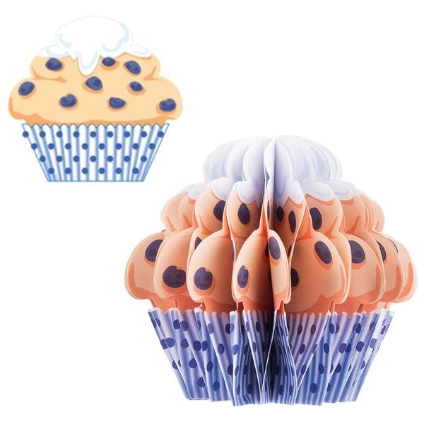 Waben-Stanzteile, Cupcake 3, beige/blau, 8,2cm x 7,7cm, 100 Stück