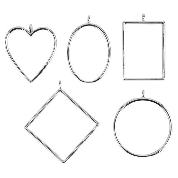 Anhänger-Rahmen mit Öse, verschiedene Designs, silber, 5 Stück