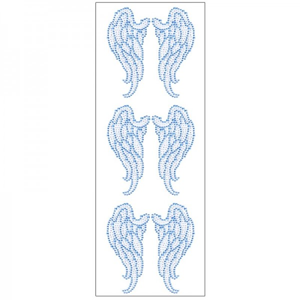 Kristallkunst, Flügel, selbstklebend, 10cm x 30cm, klar, hellblau