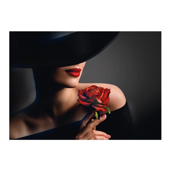Diamond Painting, Dame mit Rose, 25cm x 35cm, Motivleinwand, runde Steinchen, inkl. Werkzeug