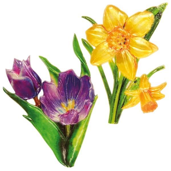 Wachsornamente, 2er Set, Osterblumen